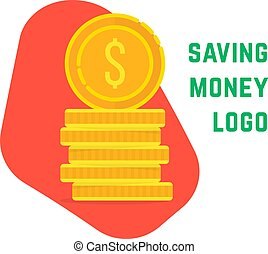 saving money logo with stack of coin