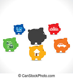 every piggy bank save money for different purpose concept vector