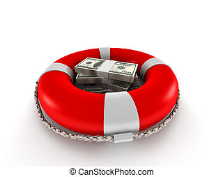 Saving money. Dollar bills in lifebuoy isolated on white...