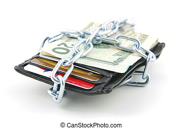 Saving money - Wallet with cash and credit cards chained...
