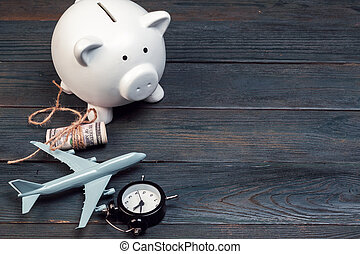 Saving planning for Travel budget of holiday concept