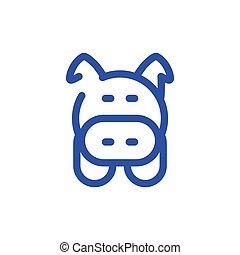 saving symbol, pig on white background