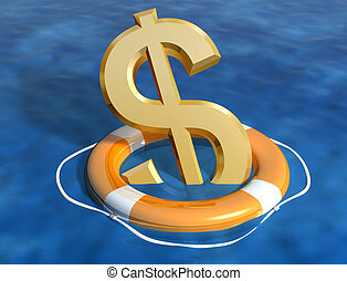 Saving the dollar - Illustration of the sinking dollar being...
