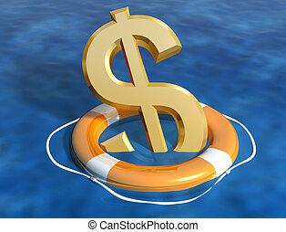 Saving the dollar - Illustration of the sinking dollar being...