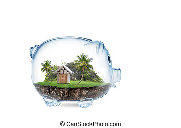 Saving to buy a house or home savings concept with grass growing in shape of house inside transparent piggy bank. isolated on White .