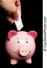 Saving twenty euros in piggy bank