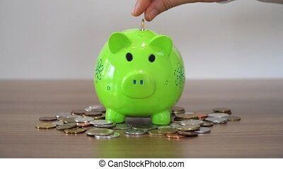 Saving With Piggy Bank - Money saving for future.