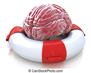 Saving your brain and preserving memory and neurological function as a lifesaver in the ocean - saving the human thinking organ as a health care and medical concept for cognitive therapy