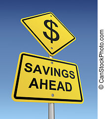 savings ahead road sign 3d concept illustration on sky background