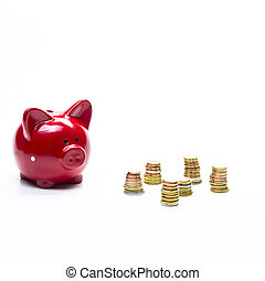 Savings and Finances Concepts.Piggybank Along With Coins Stacks. Isolated on White Background. Square image