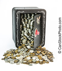 Savings Back - A child's savings back pack full of old coins...