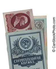 savings book of bank USSR and the Soviet roubles
