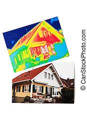 savings., casa, energía, termal, obtención de imágenes