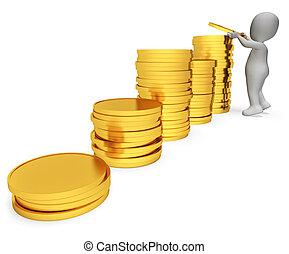 Savings Character Represents Earnings Profit And Render 3d Rendering