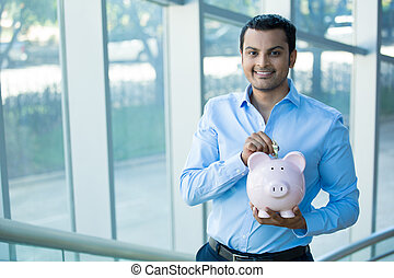 Savings - Closeup portrait happy, smiling businessman,...