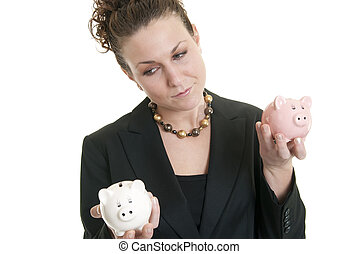 Attractive Caucasian female holding a white and a pink piggy bank making a decision.