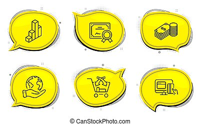 Savings, Cross sell and 3d chart icons set. Online payment sign. Vector