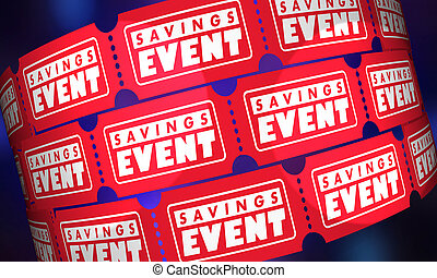 Savings Event Tickets Sale Discount Special Invitation 3d Illustration
