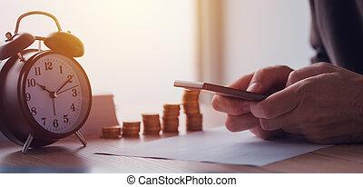 Savings, finances, economy and home budget calculations. Close up of man doing home finances.