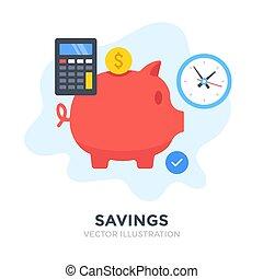 Savings. Flat design. Piggy bank, investment, deposit box,...