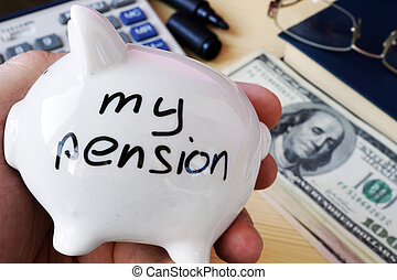 Savings for retirement. My pension on a piggy bank side.