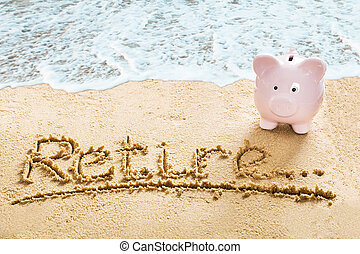 Savings For Retirement On Beach