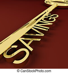 Savings Gold Key Representing Growth And Investment