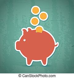 savings icon - saving icon over vintage background vector...