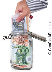 Savings in glass jar