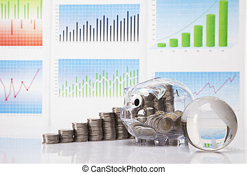 Savings in piggy bank! A lot of money! Isolated on white ...