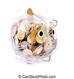 Savings in piggy bank isolated on the white background