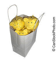 Savings in the Bag - Piggy banks in a shopping bag