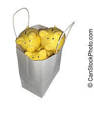 Piggy banks in a shopping bag