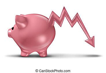 Savings Loss - Savings loss and losing money with a ceramic...