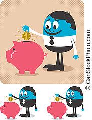 Man saving money in piggy bank.