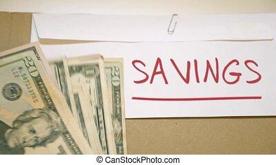 Savings money concept - Savings cash envelope