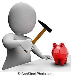 Savings Money Indicates Piggy Bank And Banking 3d Rendering