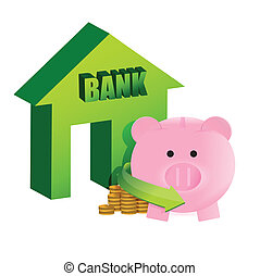 savings on the bank illustration design over a white...