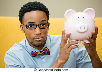 Savings - Closeup portrait happy, smiling businessman in...