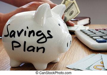 Savings Plan written on a side of piggy bank.