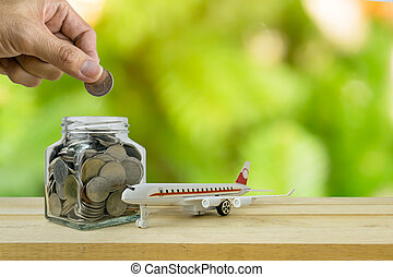 Savings plans for Travel budget, financial concept