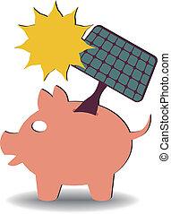savings solar energy - illustration of a solar panel going...