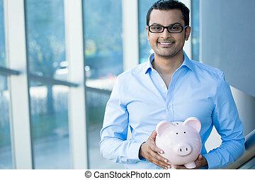 Savings - Closeup portrait happy, smiling businessman,...