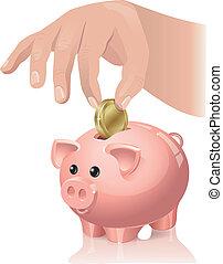 Savings - The hand throws a coin in a piggy bank. Contains ...