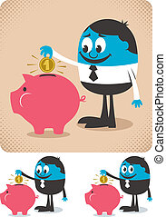Savings - Man saving money in piggy bank.