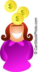 savings woman - woman saving money - icon people series