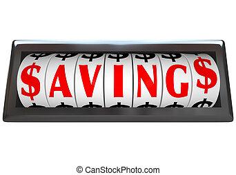 Savings Word on Odometer Dials Save Money Sale