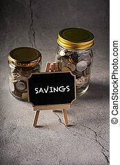 Savings wordings on chalkboard