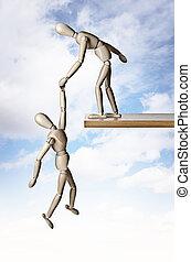 Savior - A manikin holding another manikin from falling off...