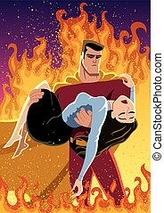 Savior - Illustration of superhero carrying woman in his...